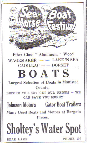 1959 - 1970's Sholtey's Water Spot - Sea Horse Boat Festival Ad